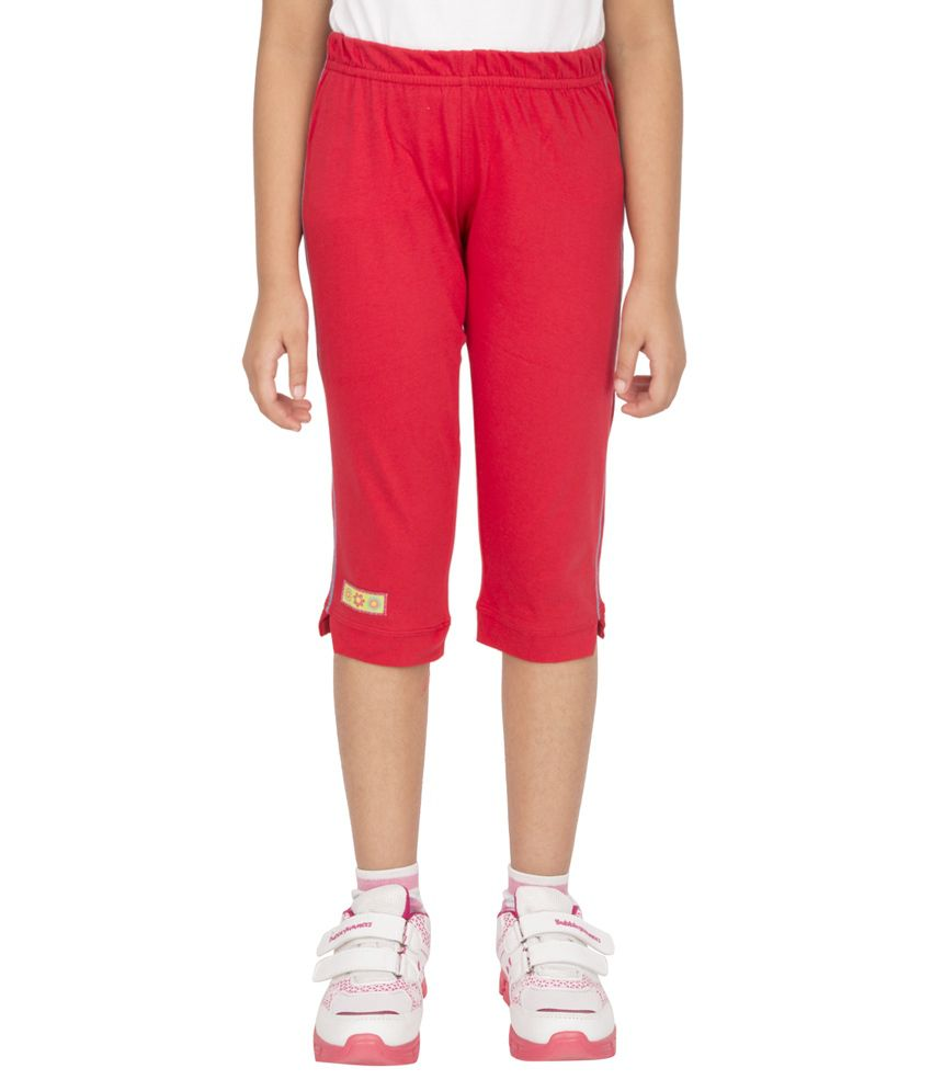 Ocean Race Red Cotton Solids Capri