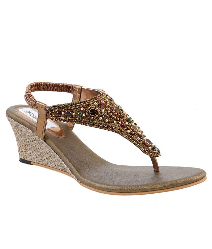 Faith Gold Faux Leather Ethnic Sandals