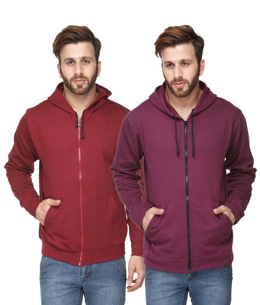 Scott International Pack of 2 Maroon & Purple Hooded Sweatshirts with Zip for Men