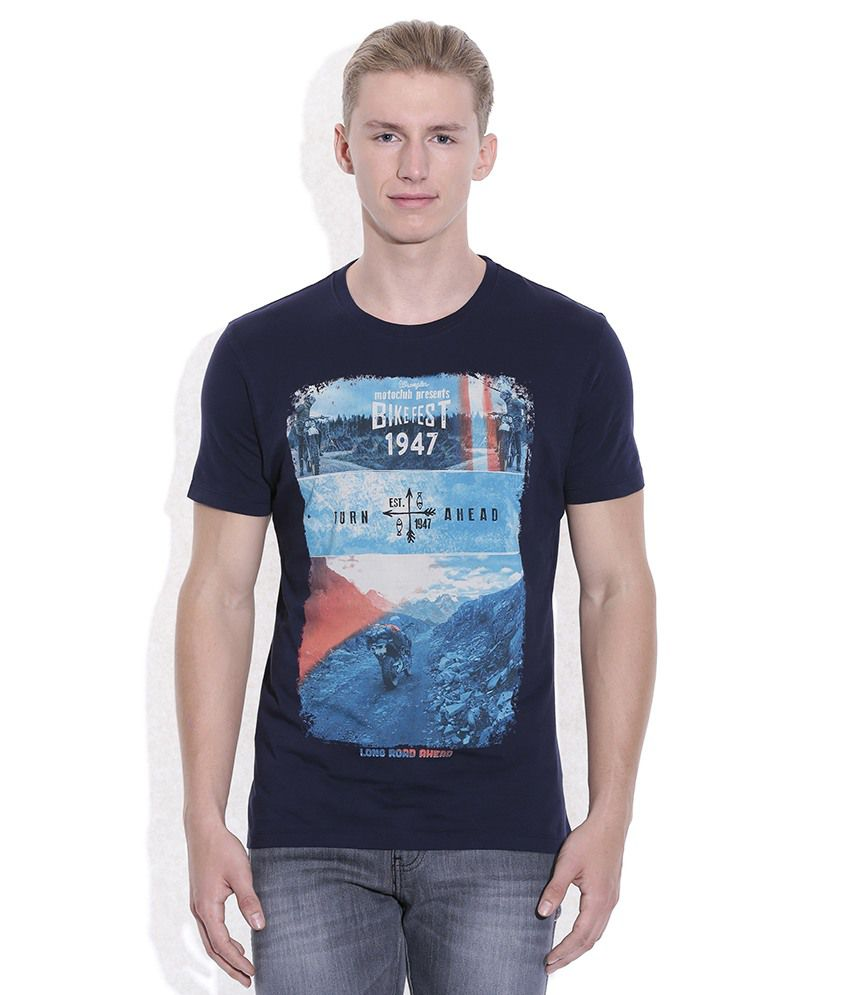 Wrangler Navy Round Neck T Shirt