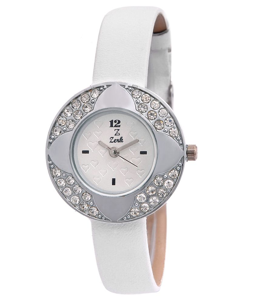 Zerk White Leather Analog Watch