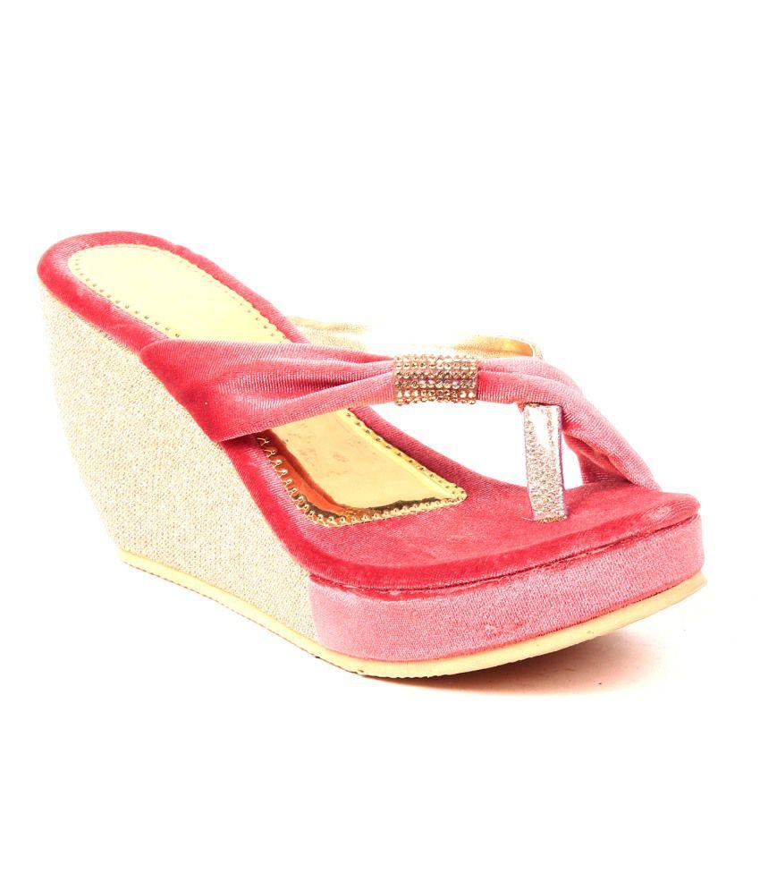 Dezire Pink Faux Leather Open Toe Back Open Helled Sandals