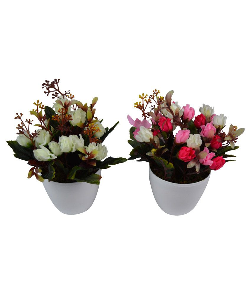 The fancy mart white pvc artifical flower plant with pot for Fancy flower pots