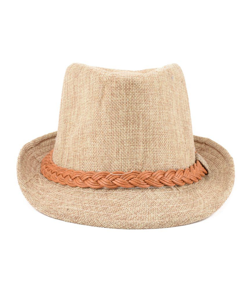 Tiekart Beige Cotton Hat For Men