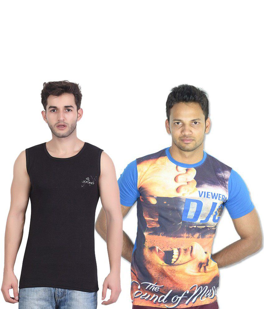 Bfly Combo Of Black & Blue Cotton Vest And T Shirt
