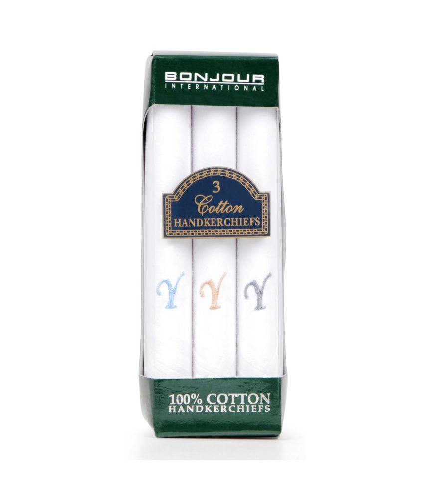 Bonjour White Cotton Handkerchief For Men Set of 3