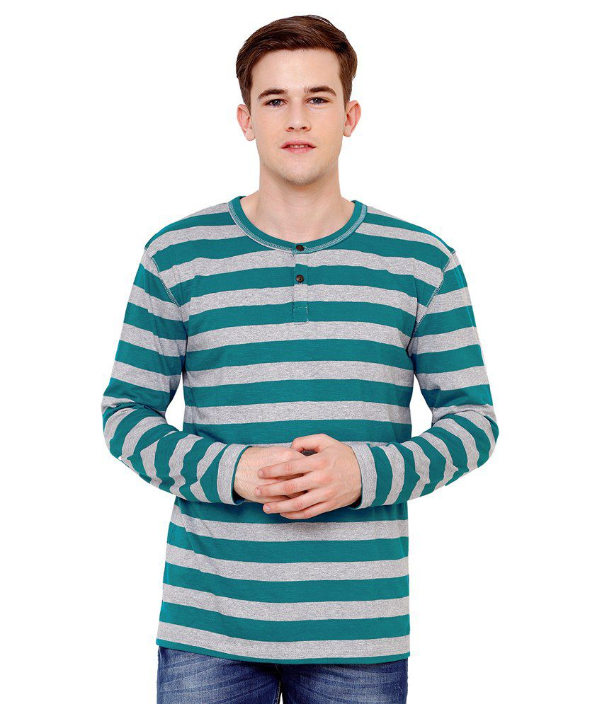 Ebry Gray and Green Cotton Henley T-Shirt