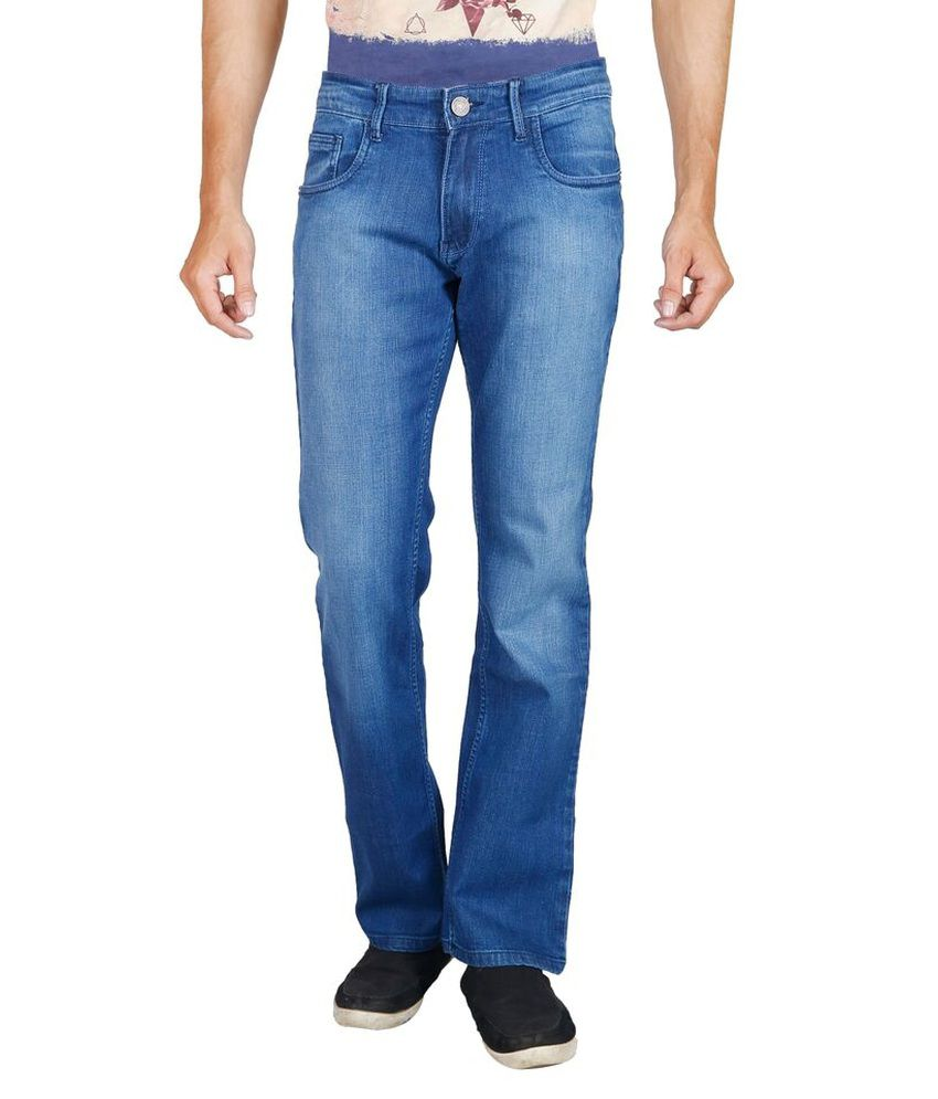 Elfried Blue Cotton Regular Fit Faded Jeans