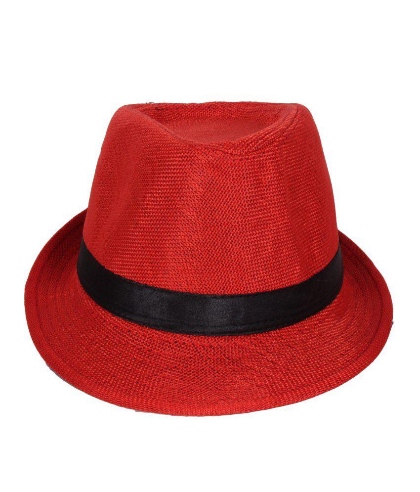 Jstarmart Red Polyester Fidora Hat For Men