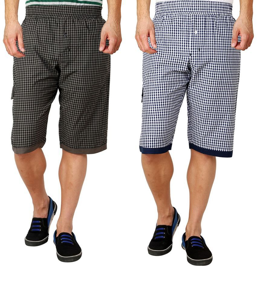 Lemon & Vodka Multicolor Cotton Check 3/4Ths Shorts - Pack Of 2