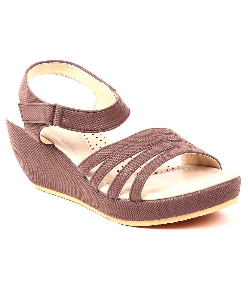 Monaliza Brown Faux Leather Daily Wear Heeled Sandals