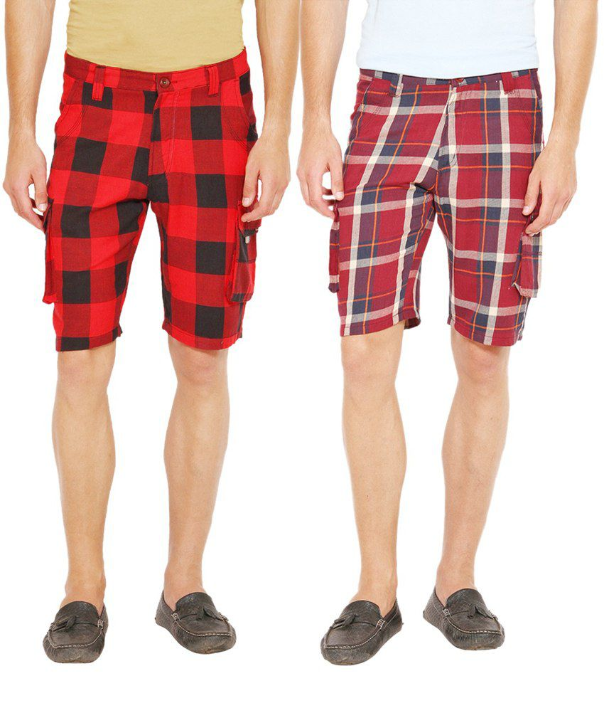Wajbee Maroon and Red Cotton Check Shorts - Pack of 2
