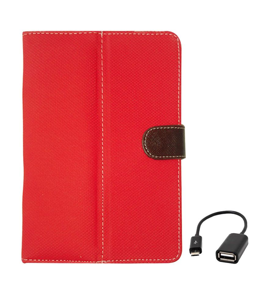 Kanu Flip Cover For HCL Connect 3g 2.0 (Red) With Micro USB OTG Cable