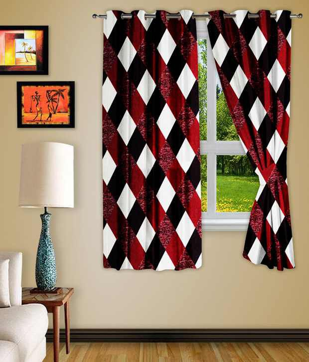 Story@Home Set of 2 Window Eyelet Curtains Checks Red