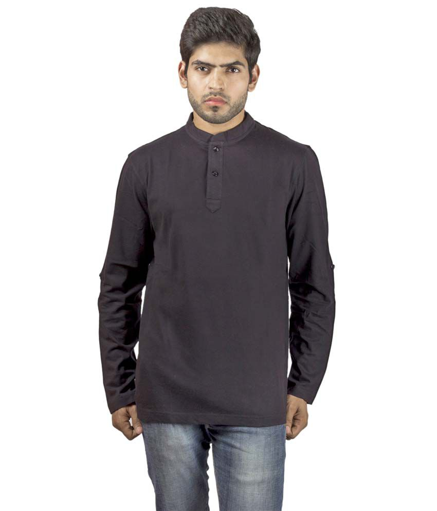 Wrig Black Cotton Full Sleeves Round Neck T-Shirt