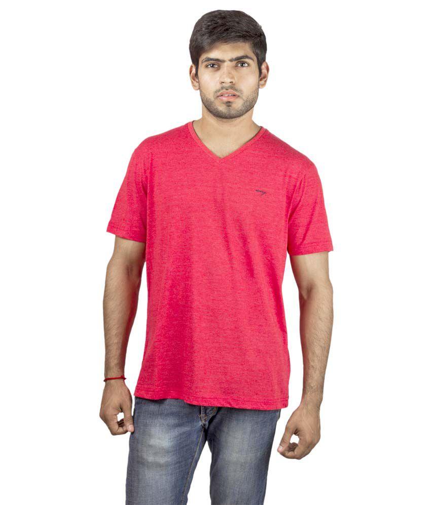 Wrig Red Cotton Blend Half Sleeves V-Neck T-Shirt