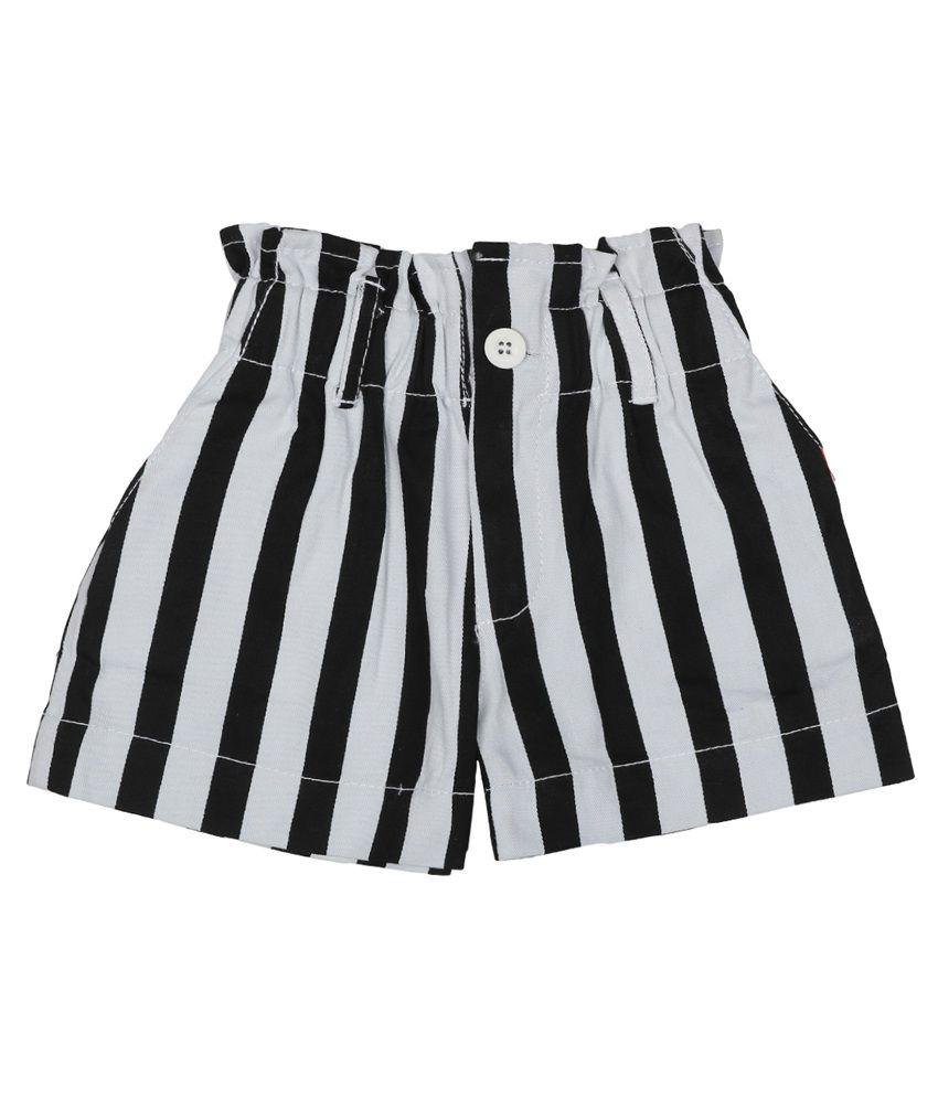 Addyvero Black And White Denim Shorts