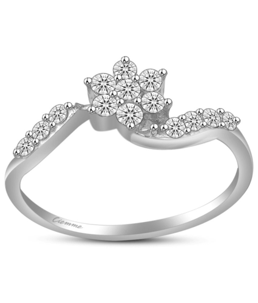 Ciemme 92.5 Sterling Silver Floral Promise Ring