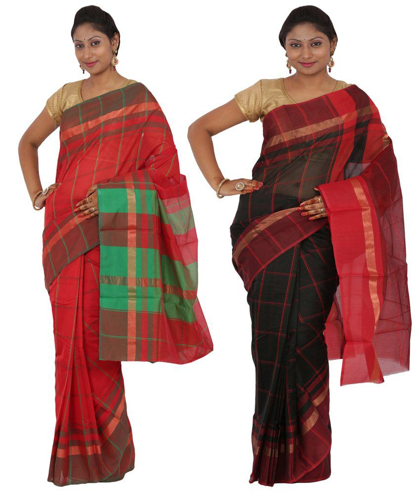 Maharaja Fashion Black & Red Art Silk Pack of 2