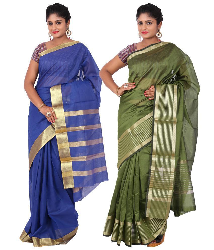 Maharaja Fashion Blue & Green Art Silk Pack of 2