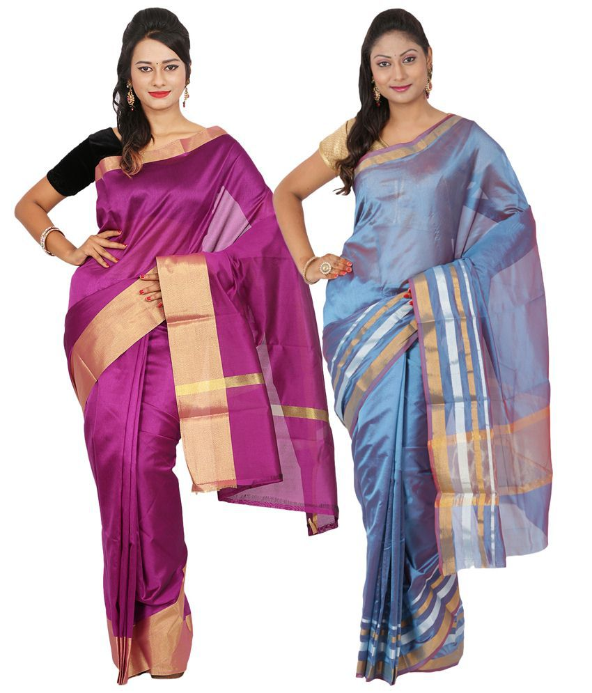 Maharaja Fashion Blue & Magenta Art Silk Pack of 2