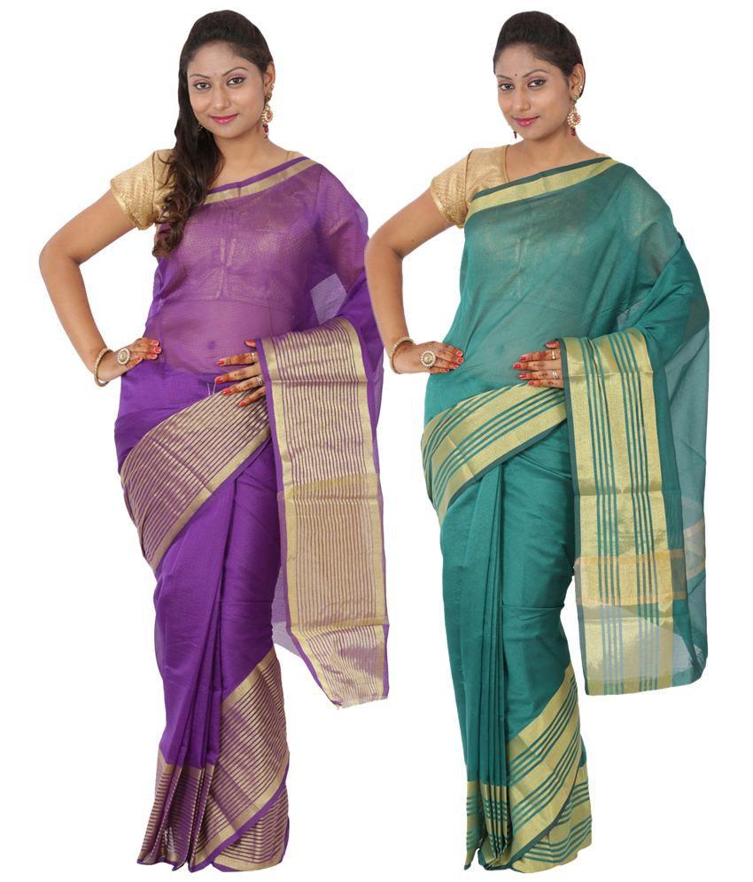 Maharaja Fashion Purple & Green Art Silk Pack of 2