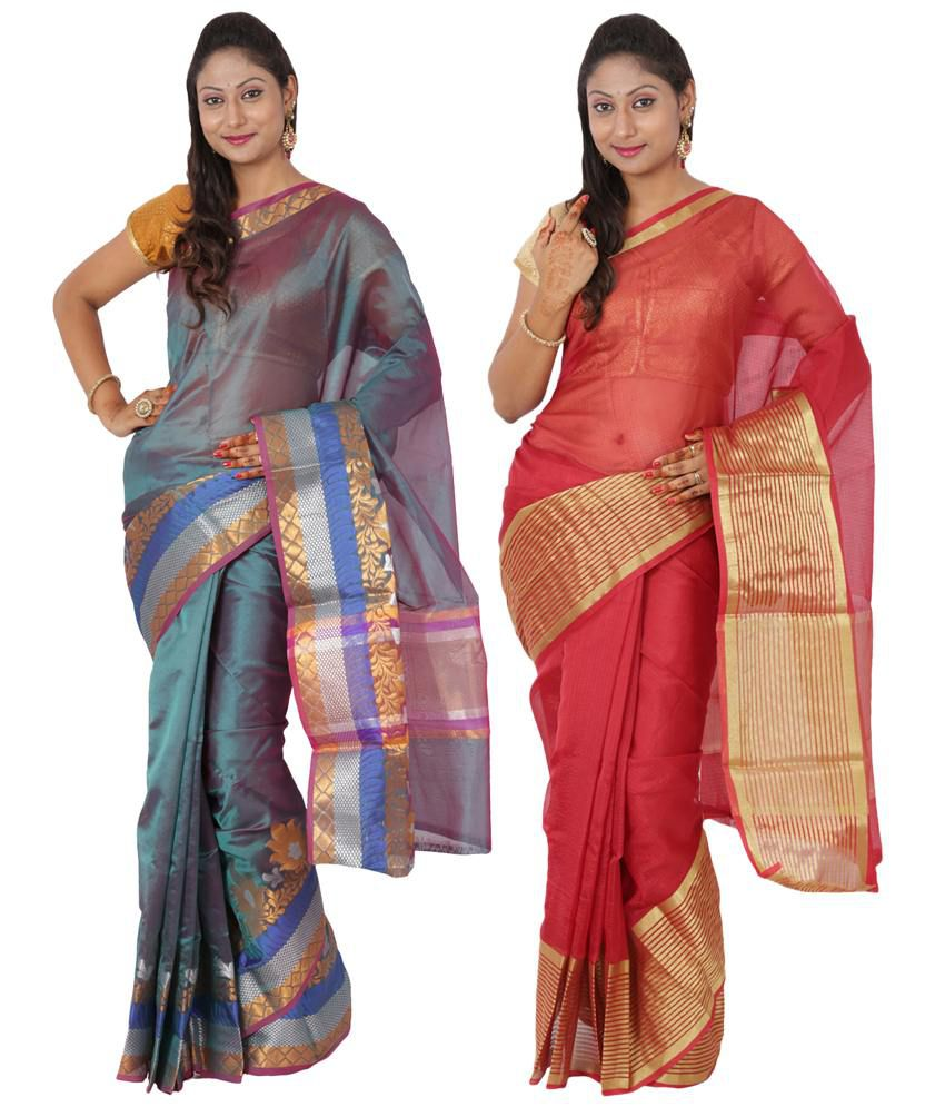 Maharaja Fashion Red Art Silk Pack of 2