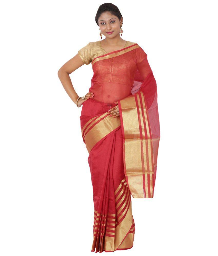 Maharaja Fashion Red Art Silk Saree