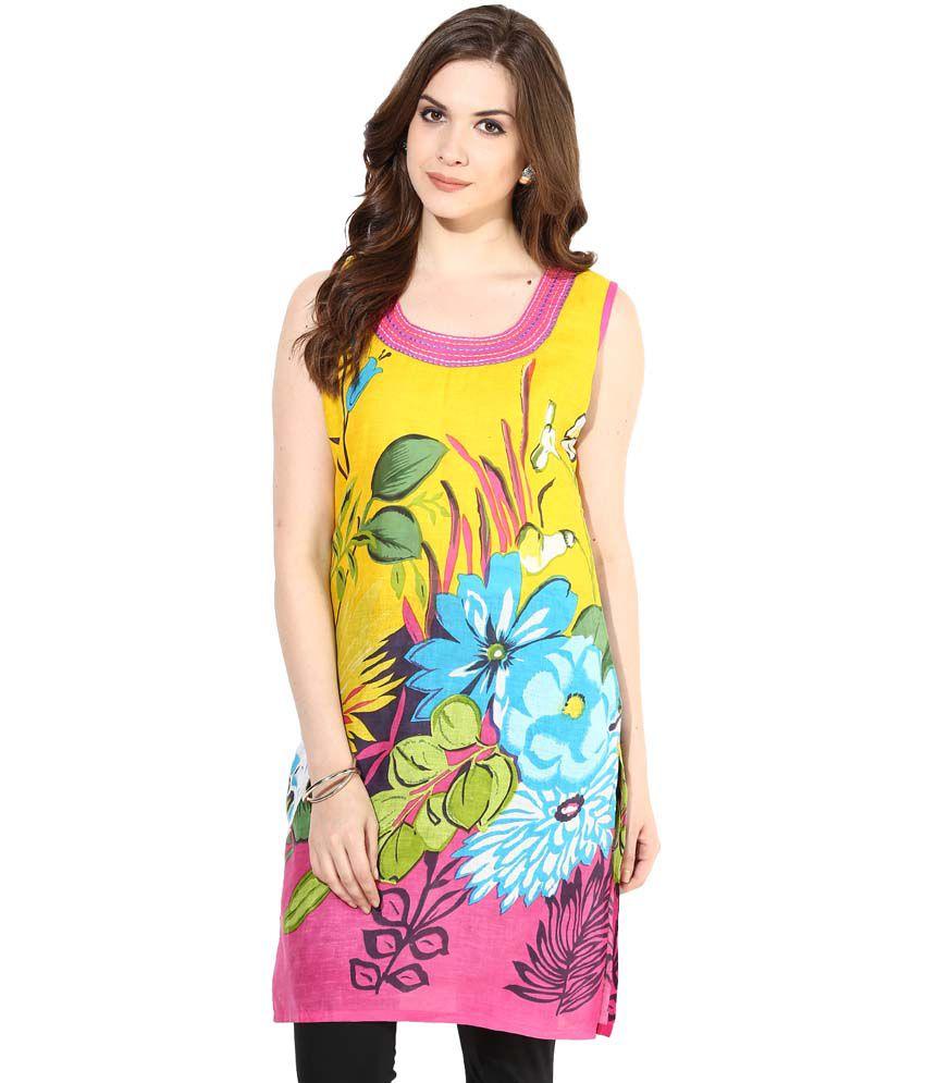 Shwetna.com Yellow Cotton Kurti