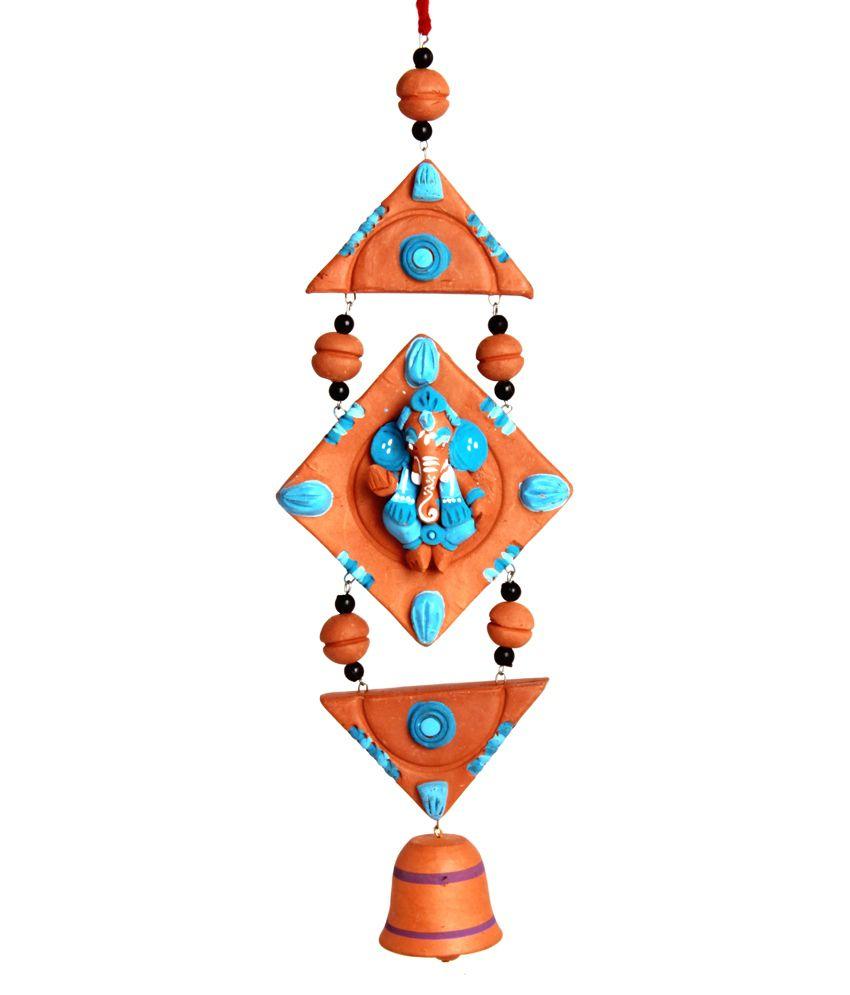 Adaa Terracotta Hand Painted Wall Hanging Ganesha - Blue