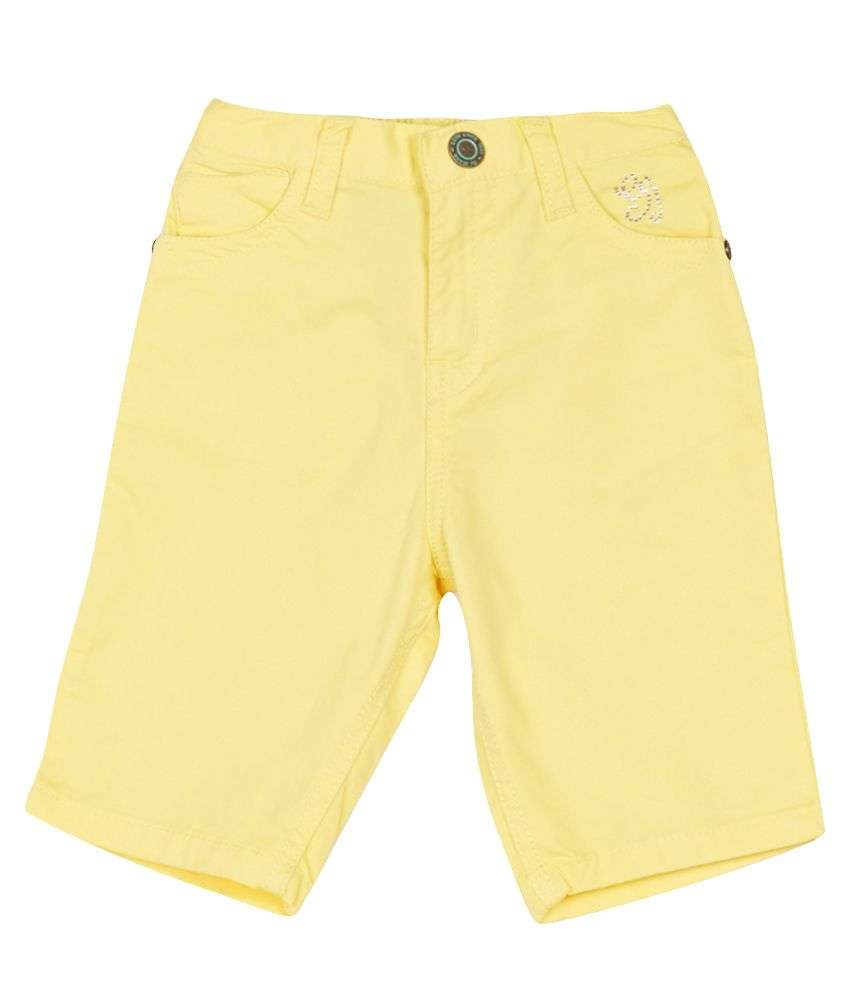 Gini & Jony Yellow Cotton Pedal Pusher