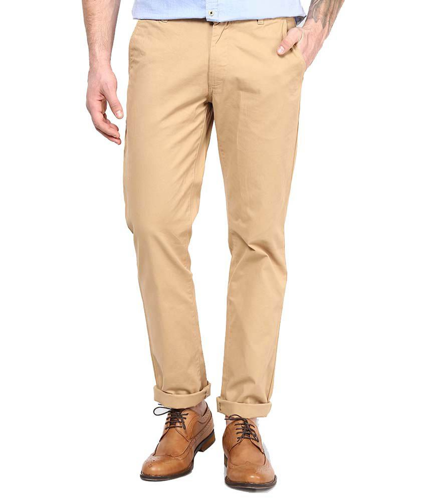 Indian Mad Beige Cotton Lycra Slim Fit Trouser