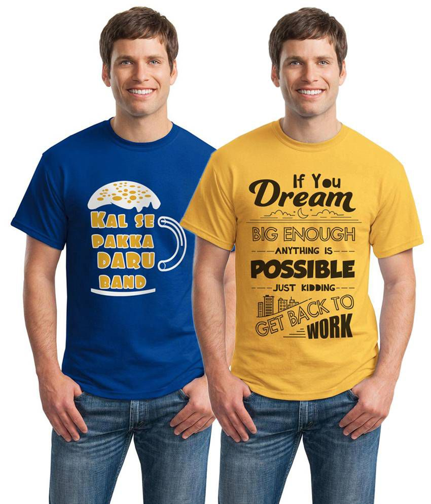 Inkvink Clothing Cheerful Pack of 2 Yellow & Blue Comic T Shirts for Men
