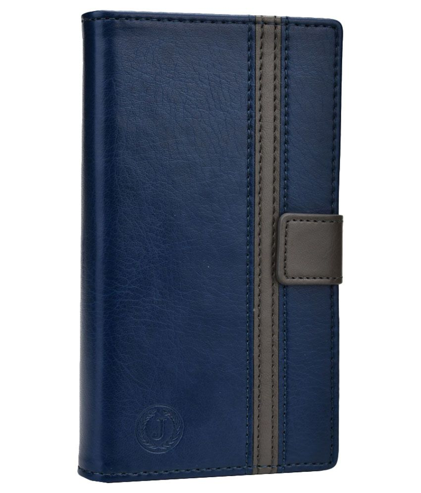 Jo Jo Leather Pouch Flip Cover for Oppo N1 - Dark Blue and Grey
