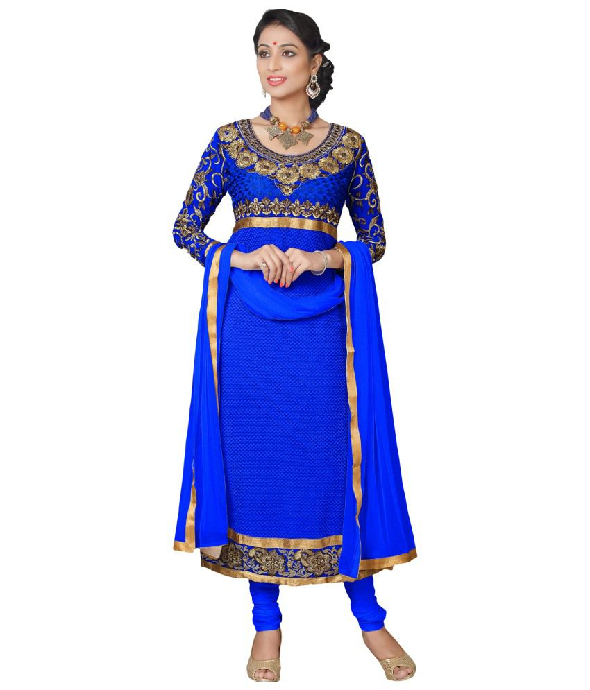 Suchi Fashion Blue Net Dress Material