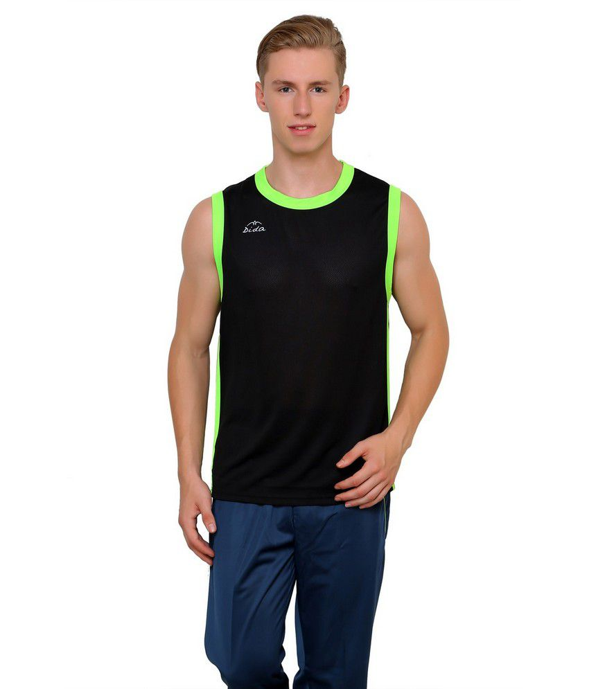 Dida Sportswear Black Polyester Sleeveless T Shirt