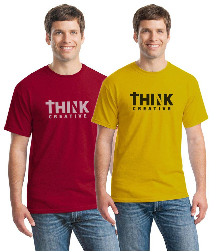 Inkvink Clothing Soothing Pack of 2 Red & Yellow Comic T Shirts for Men