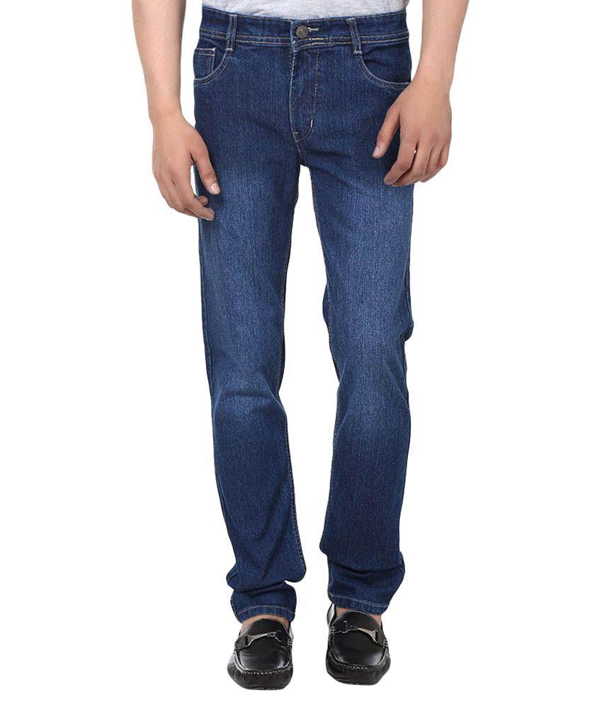 Jack Berry Blue Cotton Blend Stretchable Jeans
