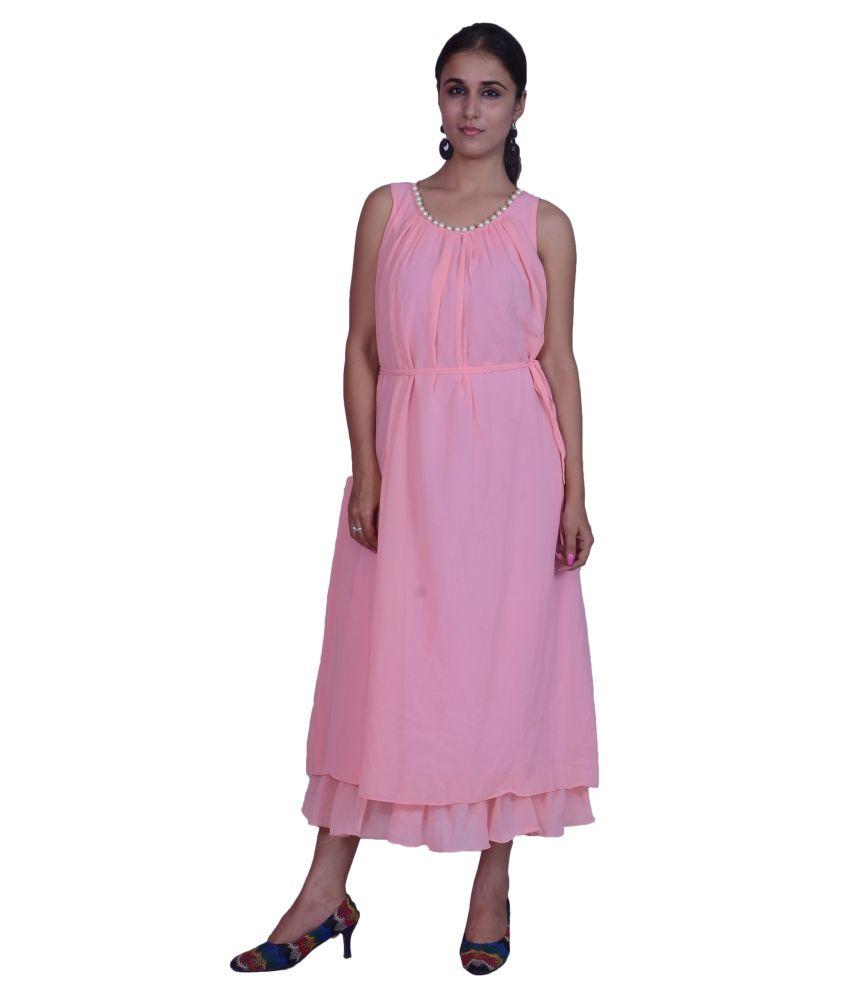 Buy Tamanna Goodies Pink Georgette Dresses Online at Best ...