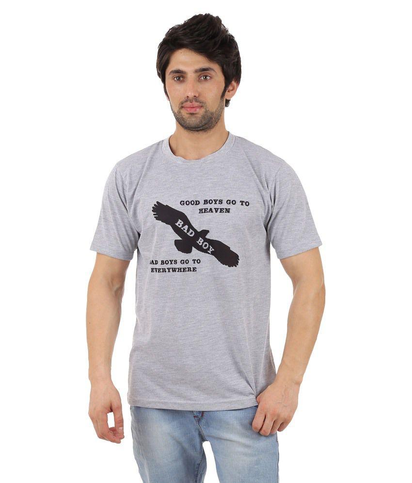 Zegi Attractive Gray & Black Round Neck T Shirt for Men