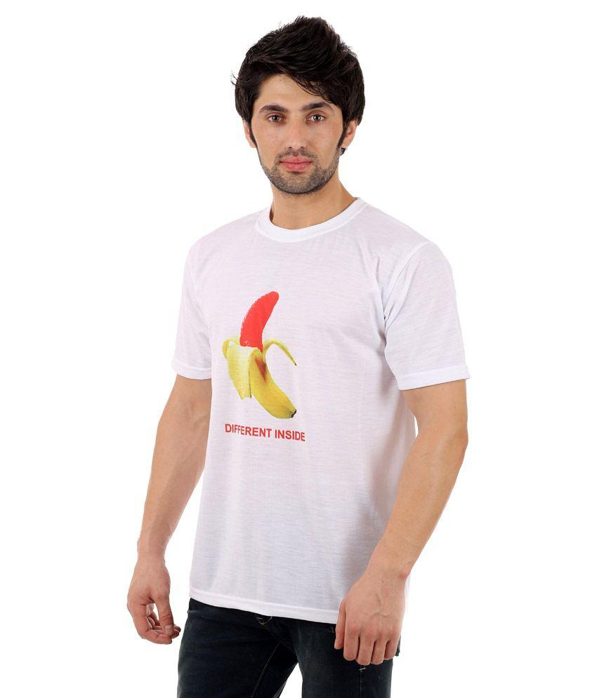 Zegi Trendy White & Yellow Round Neck T Shirt for Men