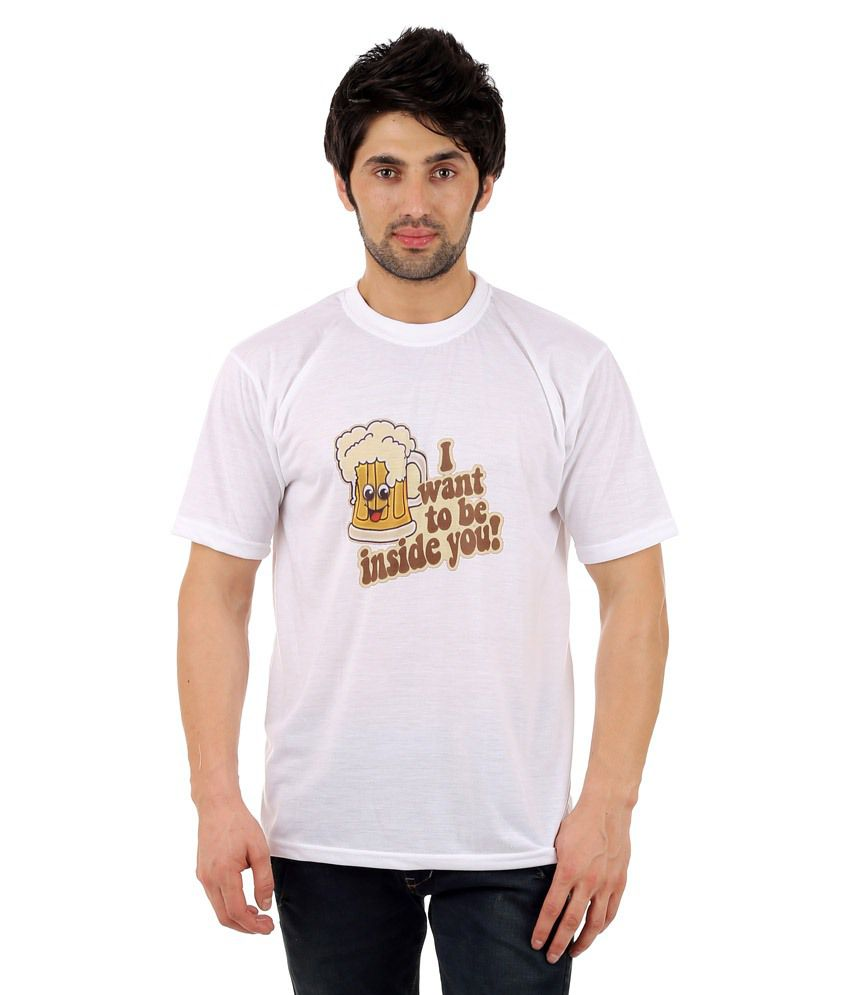 Zegi White & Beige Round Neck T Shirt for Men