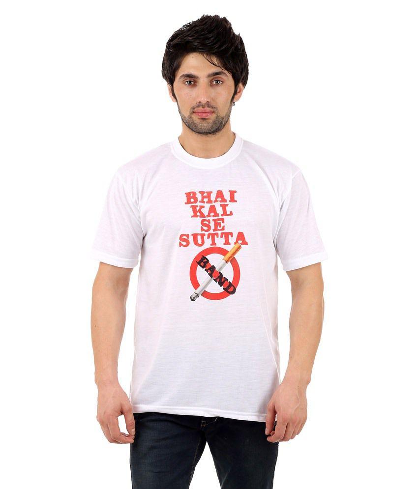 Zegi White & Red Round Neck T Shirt for Men