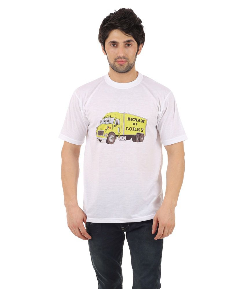 Zegi White & Yellow Round Neck T Shirt for Men