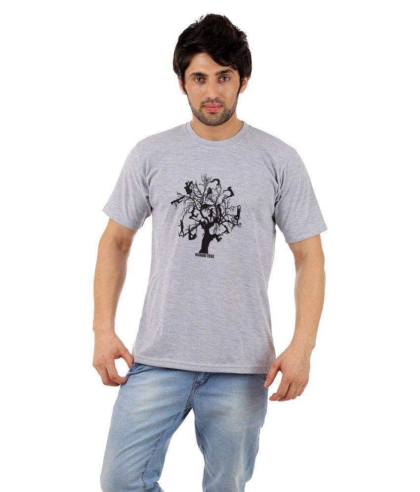 Zegi Wonderful Gray & Black Round Neck T Shirt for Men