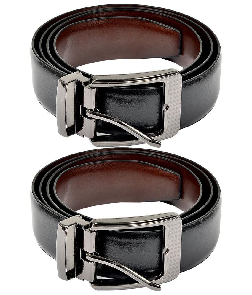 Lotus Combo of 2 Brown & Black Reversible Belts for Men
