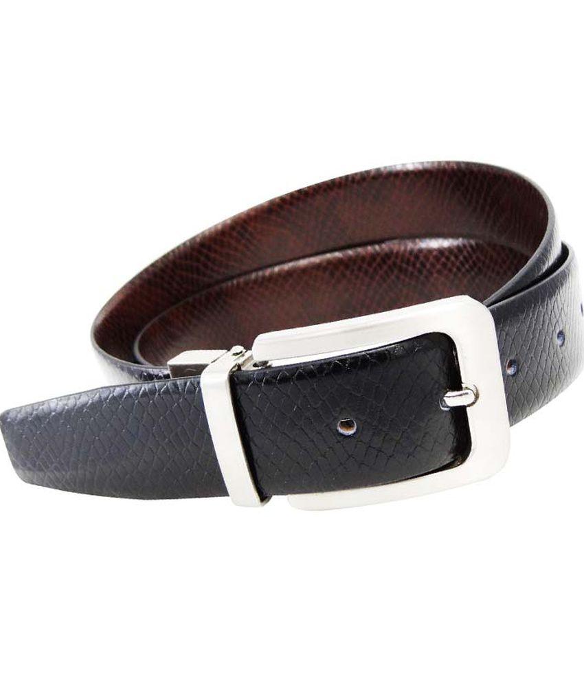 Midas Black Leather Formal Belt For Men