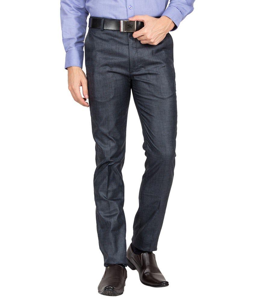Perch Blue Cotton Formal Trouser