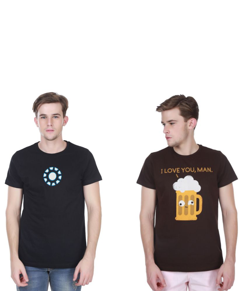 White Kalia Combo Of Black And Brown Cotton T-shirts