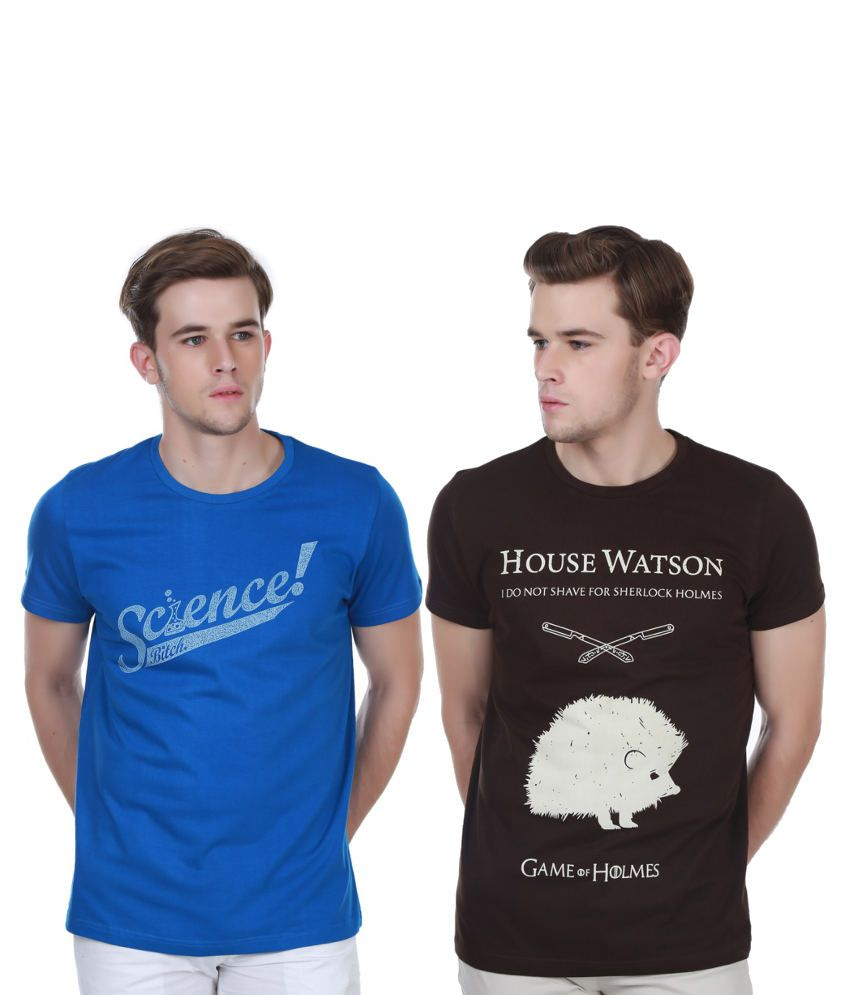 White Kalia Combo Of Brown And Blue Cotton T-shirts